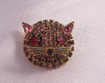 Vintage Weiss Pink Rhinestone Cat Face Brooch