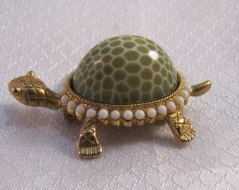 C1980's Jonette Jewelry Green Art Glass Turtle Brooch