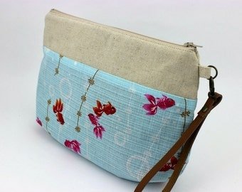 Wristlets, Anniversary Gift, Clutch Purse, Handmade Bag, Kimono Fabric, Goldfish Pale Blue
