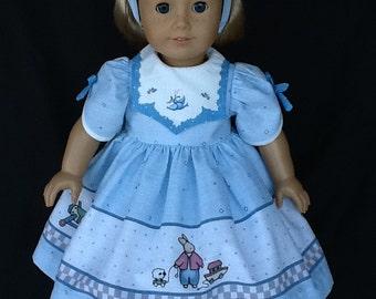 18 inch doll dress, half slip, and headband.    OOAK Daisy Kingdom border print and pattern.