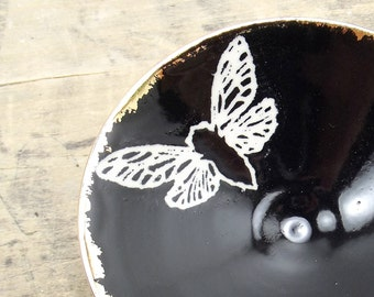One Cicada, Black & Gold Porcelain Tiny Bowl, Jewelry Dish, Ring Dish, Dipping Bowl-Hostess Gift, Goth Gift, Steampunk Gift