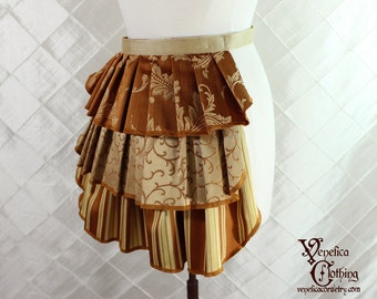 "Ruffle Bustle Overskirt - 3 Layer, Sz. XS - Pumpkin & Gold - Best Fits up to 34"" Waist/Upper Hip -- Ready to Ship"