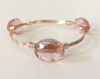 Dusty Pink Crystal Wire Wrapped Bangle Bracelet