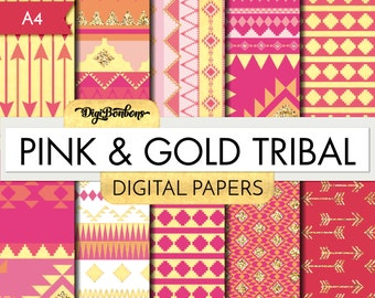 Pink, Gold Glitter, and Tribal Scrapbook Digital Paper, A4  INSTANT DOWNLOAD, modern gold and pink  pattern, commercial use ok.