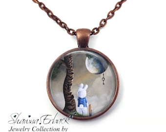 Alice in Wonderland Necklace - White Rabbit Necklace - 5 Metal Finishes - Artwork by Shawna Erback - Fairy Tale Jewelry Key to Wonderland