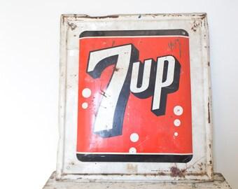 Vintage 7UP Sign Vintage Advertising Pop Soda Sign Embossed Sign 7UP Tin Metal Sign
