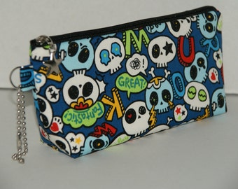 "Padded Zipper Pouch / Pencil Case with Gusset Made with Japanese Cotton Oxford Fabric ""Pop Skull - Royal Blue"""
