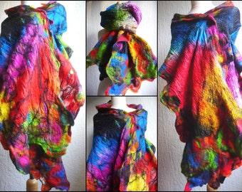 silk scarf, nuno felted scarf, shawl, handmade, felted wool , rainbow colours, merino wool, lagenlook, MADE TO ORDER