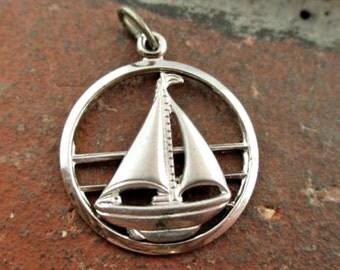 Vintage Sterling Silver Sailing Boat Pendant