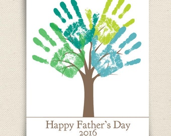 Fathers Day Printable Gift - DIY Child's Handprint Tree - Printable PDF Father's Day Gift Poster - Last Minute Gift