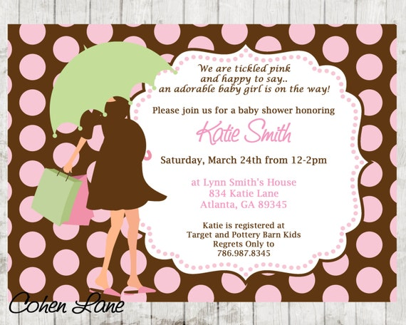 Printable polka dot modern mom baby shower invitation brown and il570xn filmwisefo Choice Image