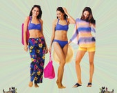 Bikini Swimsuit with Halter Top, Sheer Top and Skirt Coverup Pattern, Includes Beach Tote Bag Pattern, Simplicity Sewing Pattern 0664