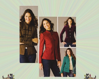 Lined Jacket w/ Collar, Sleeve & Front Variation; Threads Magazine, Size 16-18-20-22-24 Bust 38-40-42-44-46 Simplicity Sewing Pattern 3628