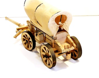 Covered Wagon Model, Vintage Handcrafted Conestoga Wagon, Pioneer Travel, Western Cowboy Home Decor itsyourcountry