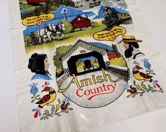 Amish Country Tea Towel, Vintage Linen Dish Drying Hand Towel, Illustrations by R Batchelder, Pennsylvania Dutch itsyourcountry