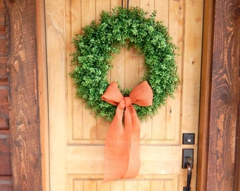 BOXWOOD Wreath-Fall Wreath-Outdoor Wreath-Faux Boxwood Door Wreath-Year Round Wreath-Home Decor-Artificial Wreath-Custom Made USA-Gifts