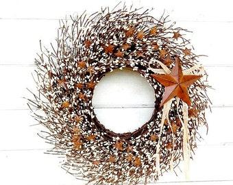 Rustic Wreath-Fall Wreath-Primitive Decor STAR Wreath-Fall Door Wreath-Primitive Country Decor-White Twig Wreath-RUSTIC TWIG Wreath-Gift