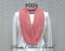 Pink Scarf Pink Scarf Cotton Pink Scarf Infinity Pink Scarf Womens Pink Scarf Crochet Pink Scarf Pink Scarf Infinity Pink Scarves Crocheted