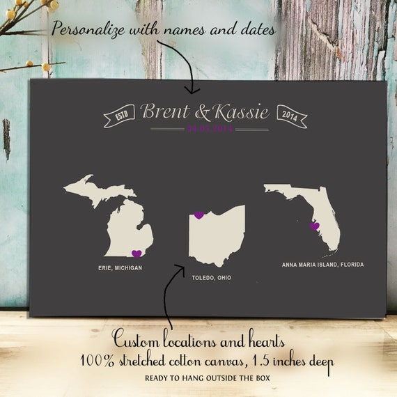 2nd Wedding Anniversary Gifts Traditional And Modern : Cotton Anniversary Gift Personalized locations Gift for