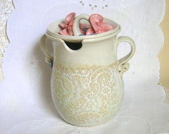 Flower Lidded Pottery Jar, Thrown Stoneware, Coral, Beige, Cream, Lace Textured, Jam Container, Honey Pot