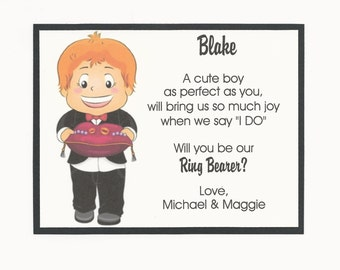 REDHEAD - Will you be my Ring Bearer Flat card - Personalized custom