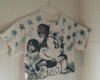 Disney Mickey Mouse Crop Top White Tee Shirt American Flag Stars Tshirt