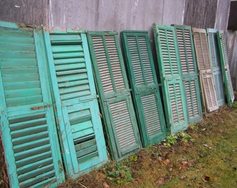 shutters,mediterranean Shutter windows,Antique Wooden Architectural,eight single rustic old shutters,salvage,chippy green paint