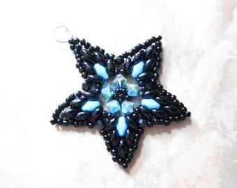 Swarovski Crystal Superduo Bead Woven Star Pendant TCJG