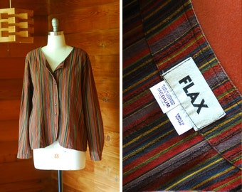 vintage FLAX striped cotton top / size medium