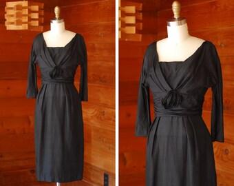 vintage 1950s dress / 50s black silk cocktail dress / size xs