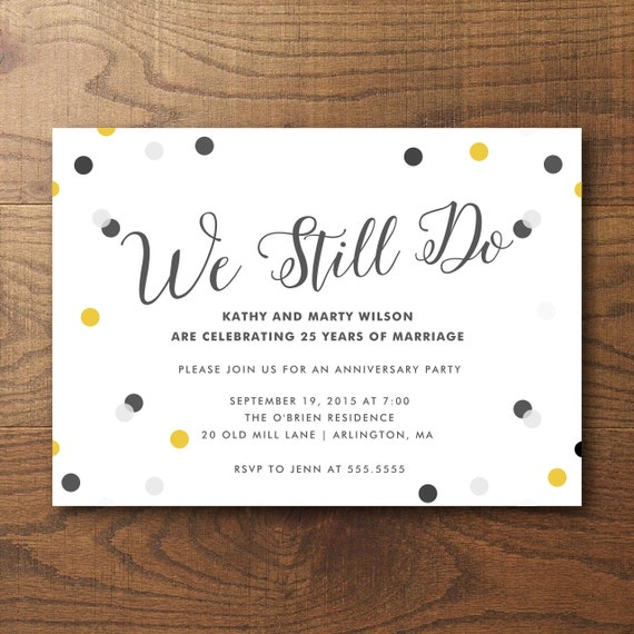 Printable Anniversary Party Invitation 25th By Birchandriver