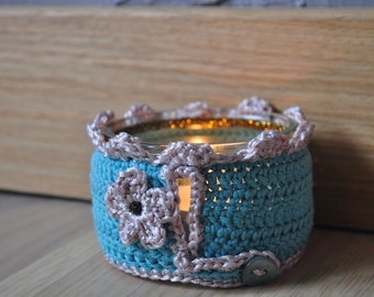 The blue hand - made crochet Lantern cobalt turquoise and beige satin - flower, mother of Pearl button and glittering 3D painting