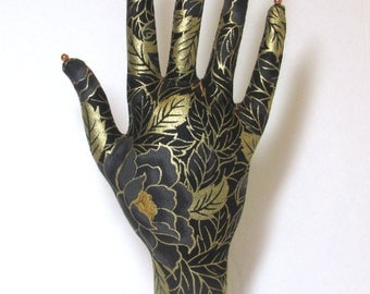 Gold Leaf Black Rose Fabric HAND-Stand Jewelry Display Ready to Ship