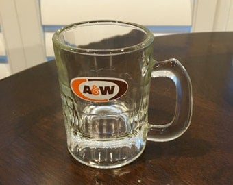 Vintage Advertising Collectible A & W baby Root Beer Mugs Small Glasses Retro Kitchen Decor oval design