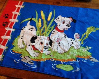 Disney Pillowcase like new vintage 101 dalmations spotted puppy dog and duck, other side dog and frog