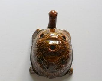 Vintage Handmade Ceramic Turtle Pencil Holder