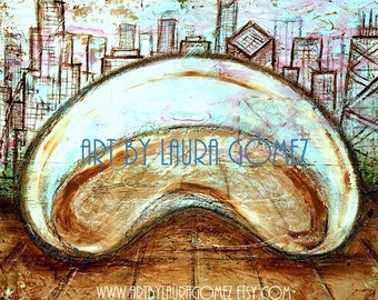 "The Bean (Chicago) - 10X10"" Print of Original Art by Laura Gomez- Contemporary  Modern  Art"