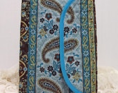 Large Quilted Journal - Brown Floral and Paisley Strip on Teal Large Quilted Journal