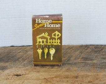 Vintage Home Sweet Home Solid Brass Key Hanger in Original Box
