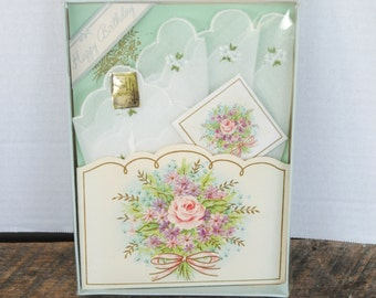 Vintage Treasure Masters Handkerchief and Sachet White with Tiny Flowers Blue - White In Original Box
