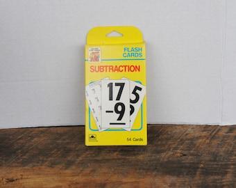 Vintage Subtraction Flash Cards 1989 Golden Step Ahead