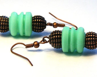 Squishy Upcycled Car Radio Rubber Spring Earrings, Eco Friendly Jewelry, Industrial Earrings, Mint Green Earrings Antique Copper Metal Beads