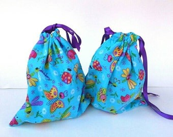 Set of 2 Bugs, Butterflies and Dragonflies Kids Birthday Drawstring Fabric Gift Bag Upcycled, Reusable