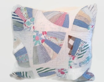 Fan Quilt Pillow Cover 20 Inch Square Upcycled 20 X 20