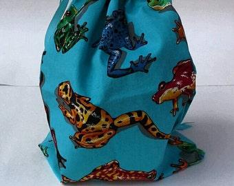 Colorful Frogs Drawstring Fabric Gift Bag Upcycled, Reusable, Birthday Gift Bag