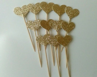 Golden hearts, silver hearts, cupcake toppers, bridal showers, birthday parties, weddings, Set of 20