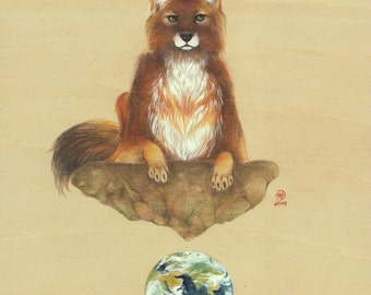 GICLÉE PRINT with gold embellishment: Earth Series - Western Dhole