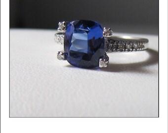 Estate 14k 1.75 Ct. Gorgeous Cushion Cut Tanzanite Diamond Ring