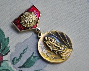 "Vintage Soviet Russian aluminum badge,pin.""Soviet Warrior Monument"""