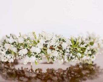 Baby's Breath Flower Crown - Flowergirl hairpiece - White Wedding - Newborn Photo Prop - Wedding Crown - Floral Hairpiece